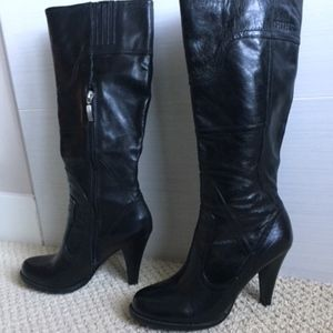 Guess Knee High Black Leather Boots